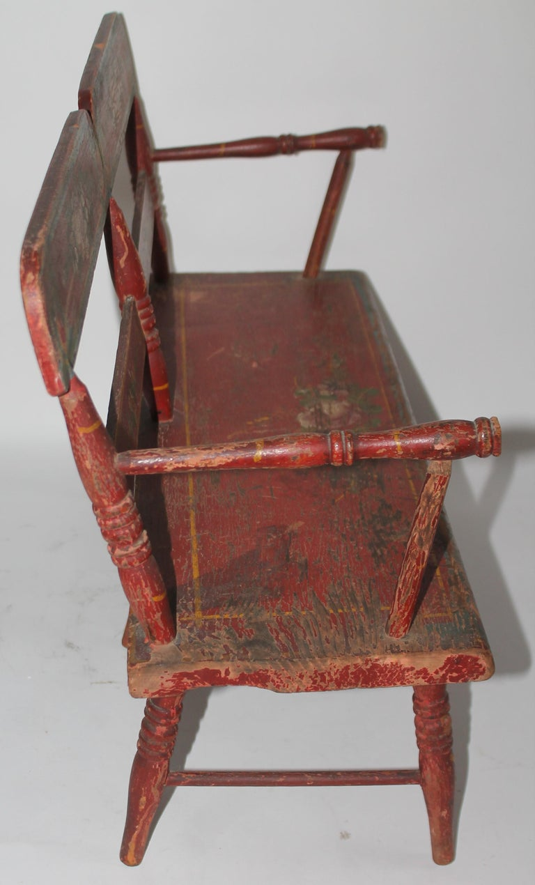 19thc original paint decorated Lancaster county Miniature Settee. Great for a doll or teddy bear collection. Or just setting on a blanket chest in a folk art collection.