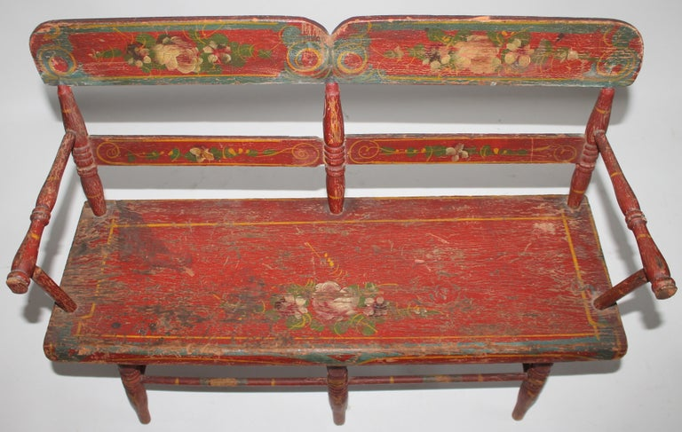 Hand-Crafted 19thc Original Painted Miniature Settee From Pennsylvania For Sale