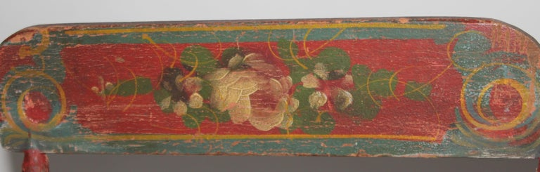 Wood 19thc Original Painted Miniature Settee From Pennsylvania For Sale
