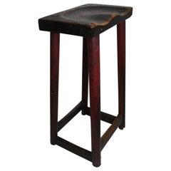 19th Century Original Painted Saddle Seat Bar Stool