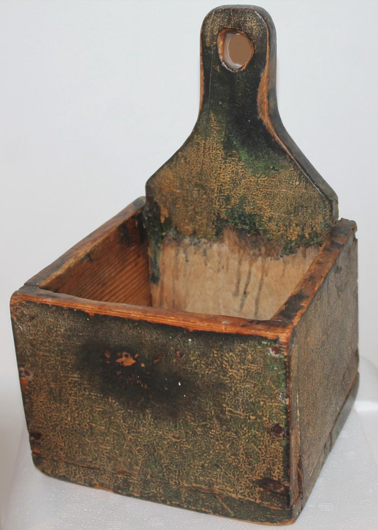 This amazing undisturbed painted wall box or salt box is from Vermont and in very good condition. This has square nail construction and undisturbed surface.