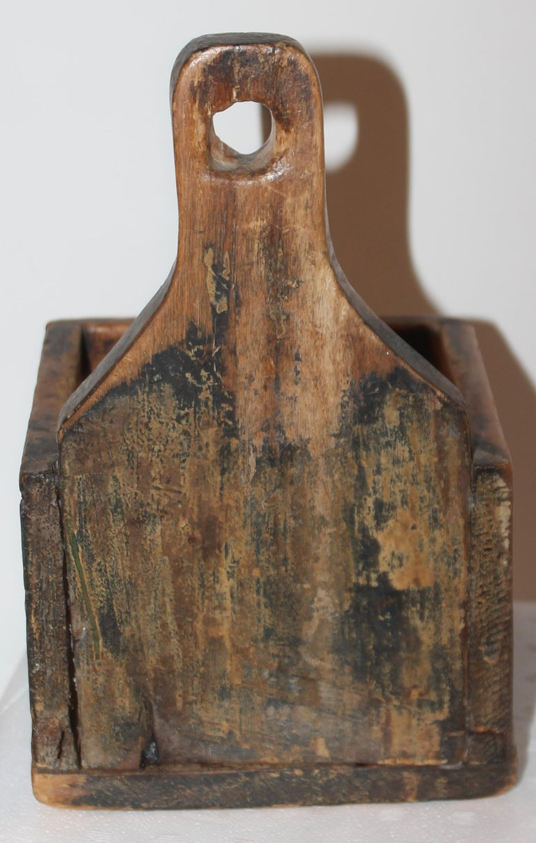 Adirondack 19thc Original Painted Salt Box from Vermont For Sale