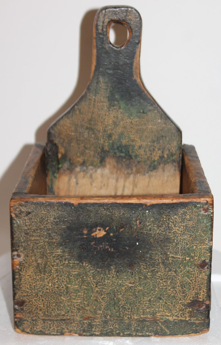 Hand-Carved 19thc Original Painted Salt Box from Vermont For Sale