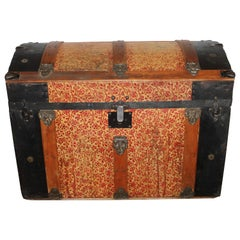 19Thc Original Painted Steamer Trunk