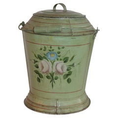 19th Century Original Painted Tin Coal Bucket