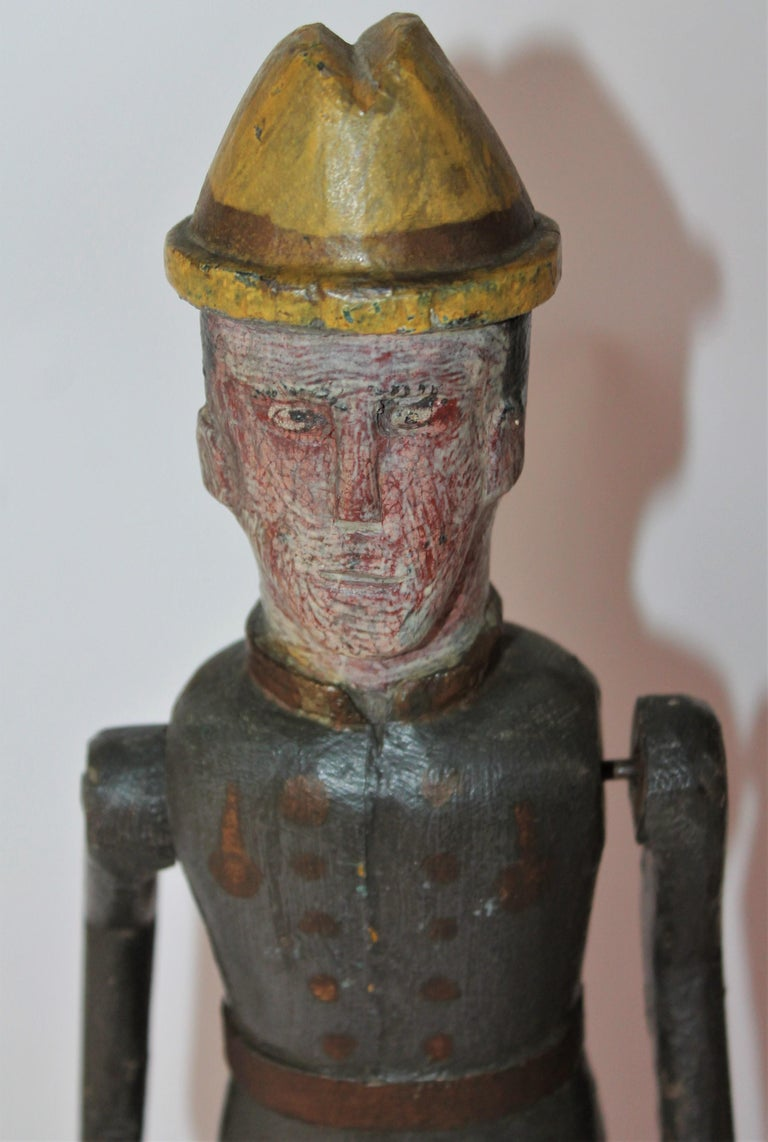 Folk Art 19th Century Original Painted Whirlygig Soldier on Stand For Sale
