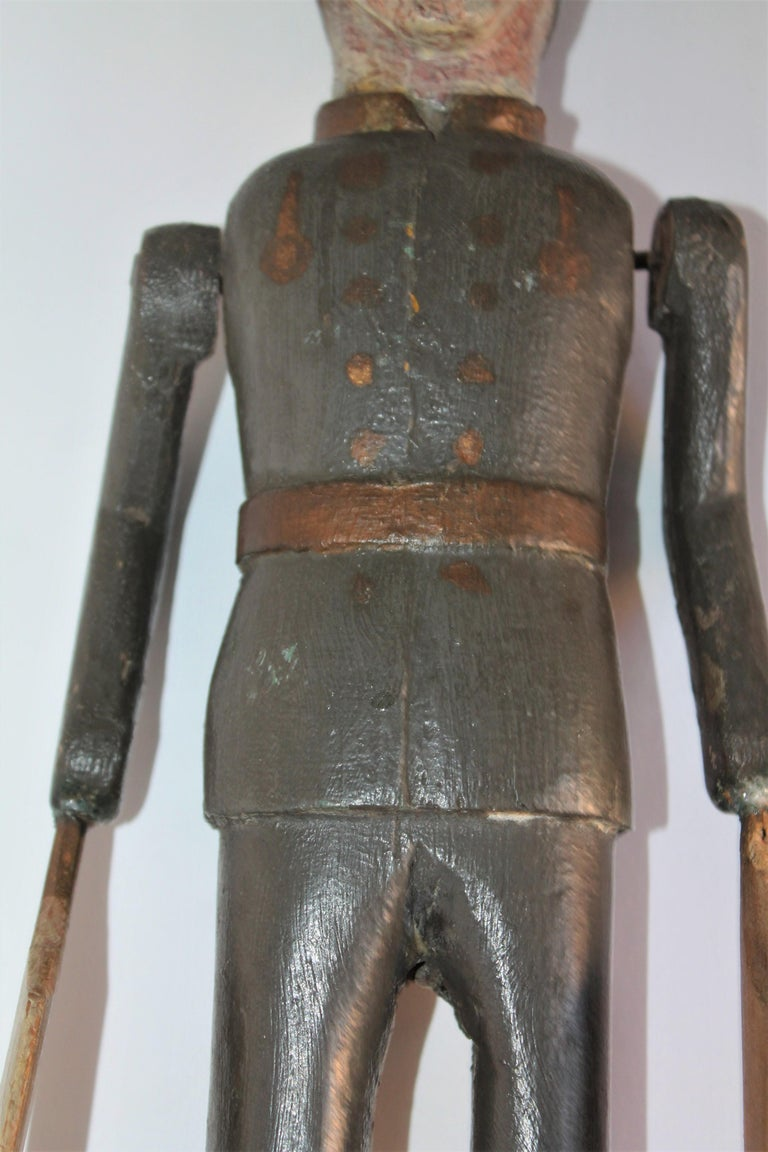 19th Century Original Painted Whirlygig Soldier on Stand For Sale 4