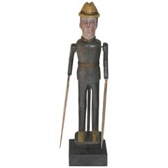 19th Century Original Painted Whirlygig Soldier on Stand