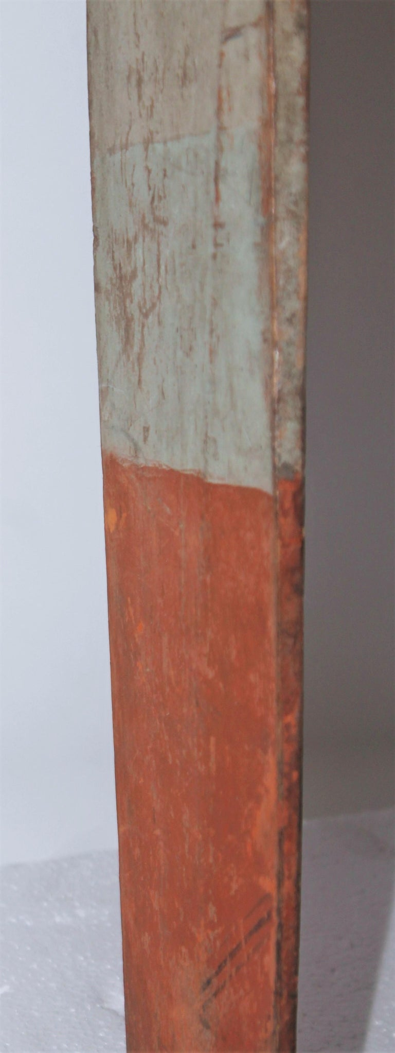 Hand-Painted 19thc Original Painted White & Orange Paddle For Sale