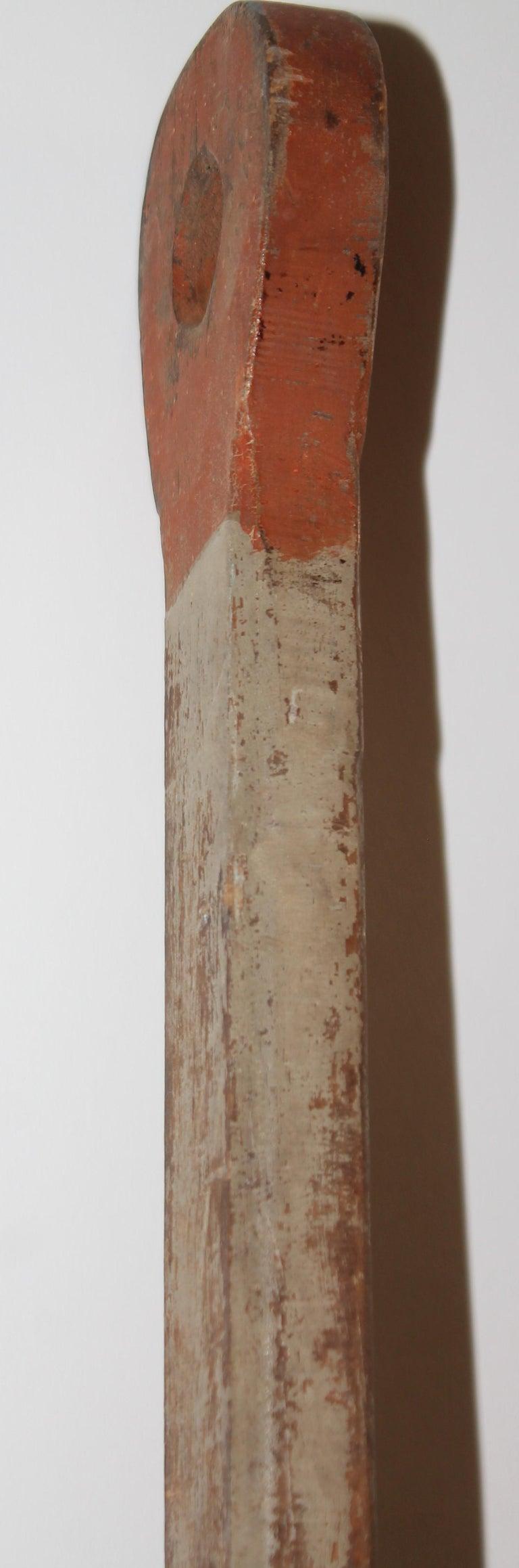 19th Century 19thc Original Painted White & Orange Paddle For Sale