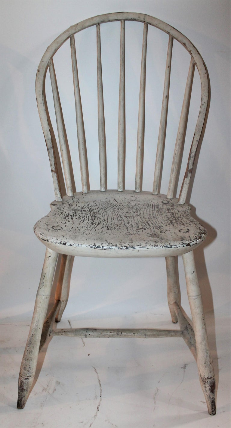 Country 19th Century Original Painted Windsor Chairs, Pair For Sale