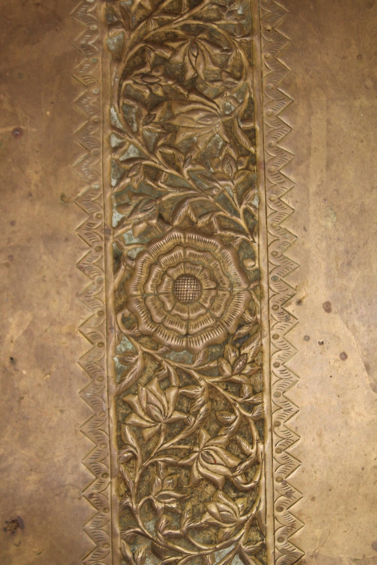 19thc Original Patinaed Brass Wall Tray For Sale 3