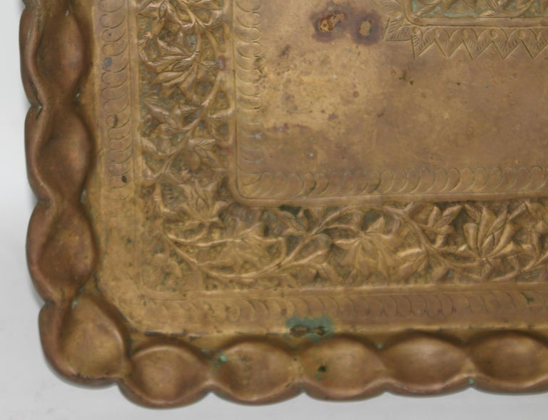 19thc Original Patinaed Brass Wall Tray For Sale 4