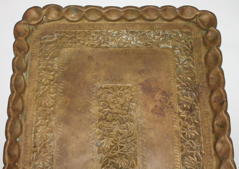 19thc Original Patinaed Brass Wall Tray For Sale 5