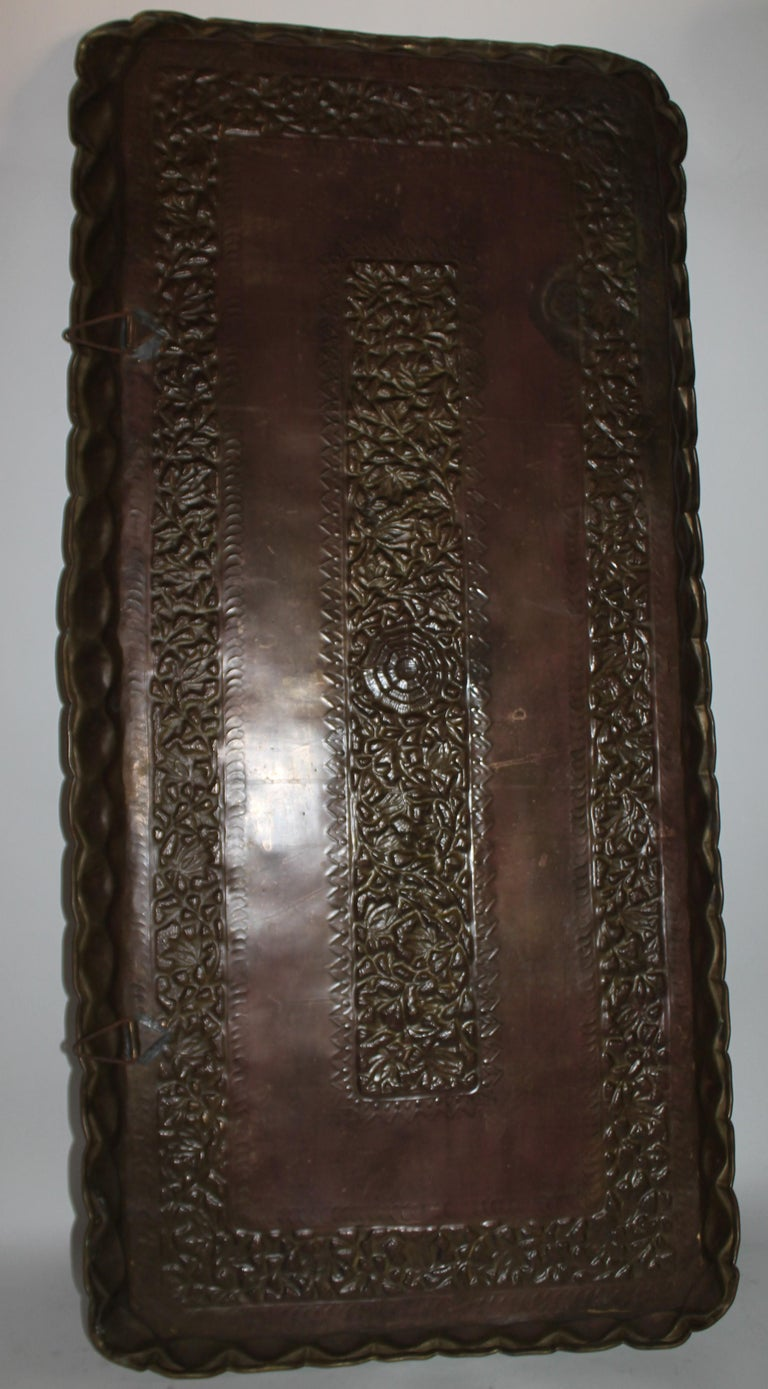 19thc Original Patinaed Brass Wall Tray For Sale 6