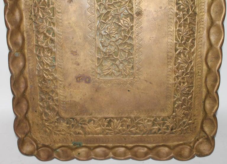 Adirondack 19thc Original Patinaed Brass Wall Tray For Sale