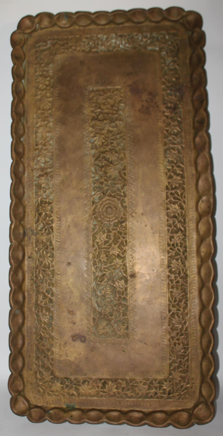 American 19thc Original Patinaed Brass Wall Tray For Sale