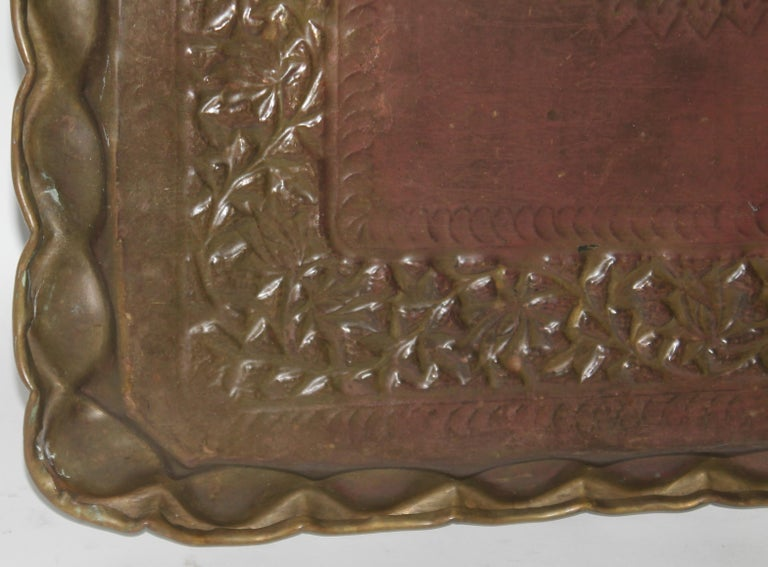 Patinated 19thc Original Patinaed Brass Wall Tray For Sale