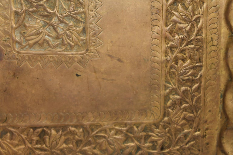 19thc Original Patinaed Brass Wall Tray In Good Condition For Sale In Los Angeles, CA