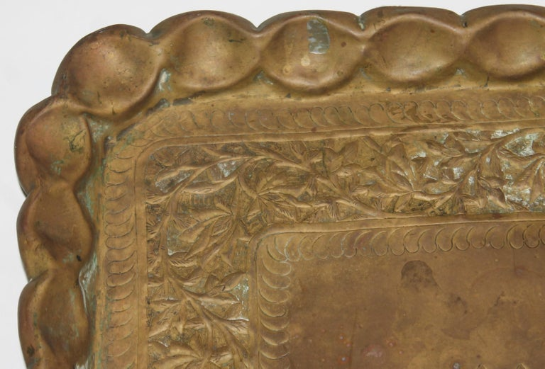 19thc Original Patinaed Brass Wall Tray For Sale 1