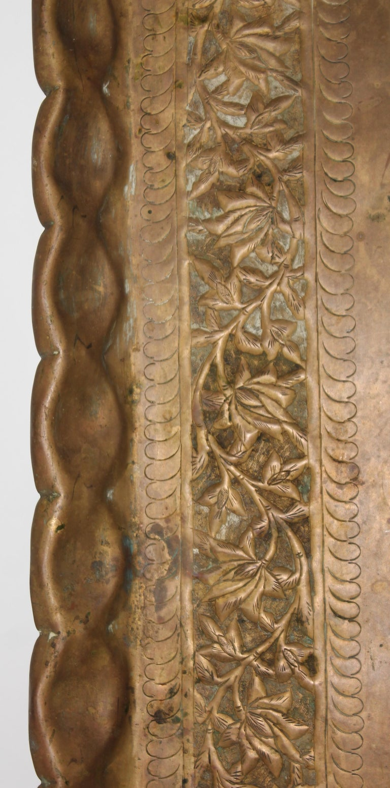 19thc Original Patinaed Brass Wall Tray For Sale 2