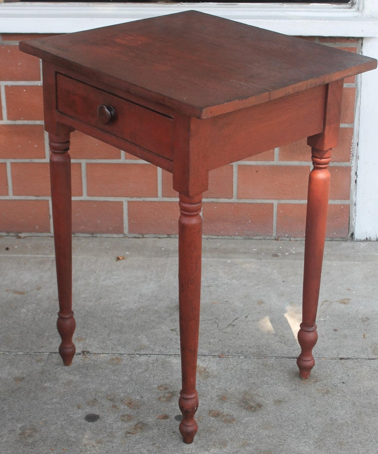 This fantastic Pennsylvania original red painted one drawer stand or side table is in fine condition and very sturdy. This side table was found in Lancaster County, Pennsylvania.