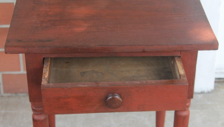 Adirondack 19thc Original Red Painted One Drawer Stand For Sale