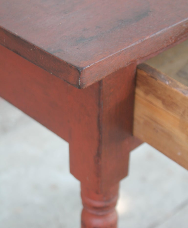 American 19thc Original Red Painted One Drawer Stand For Sale