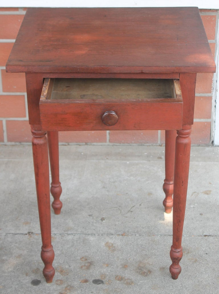Hand-Crafted 19thc Original Red Painted One Drawer Stand For Sale