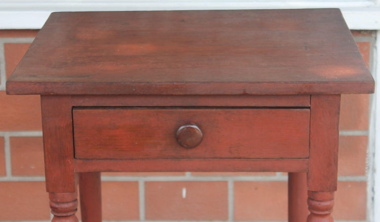 19thc Original Red Painted One Drawer Stand In Good Condition For Sale In Los Angeles, CA