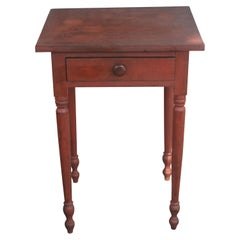 19thc Original Red Painted One Drawer Stand