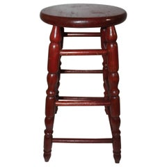 19th Century Original Red Surface Bar Stool from Pennsylvania