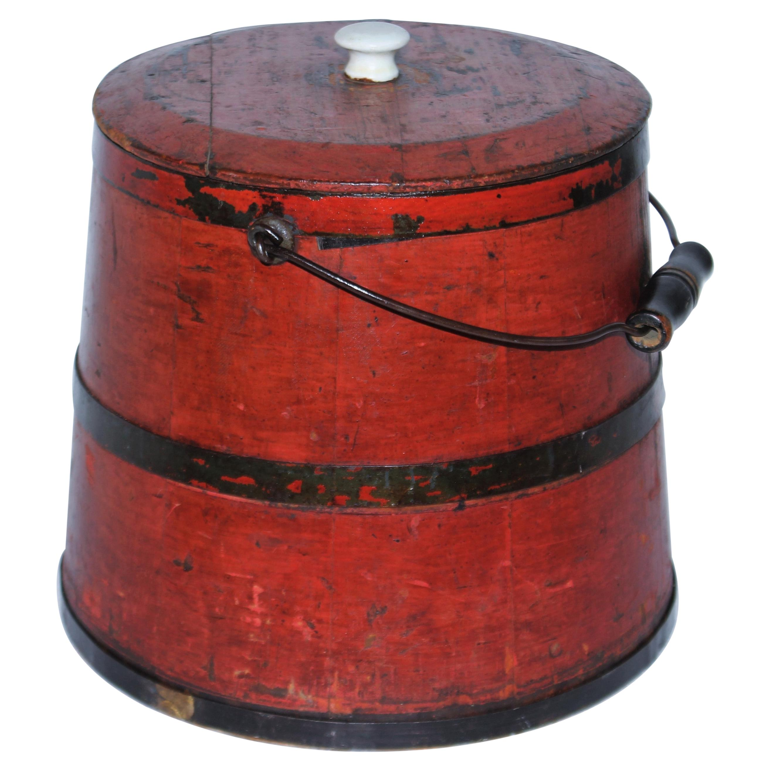 19thc Original Salmon Painted Bucket with Lid