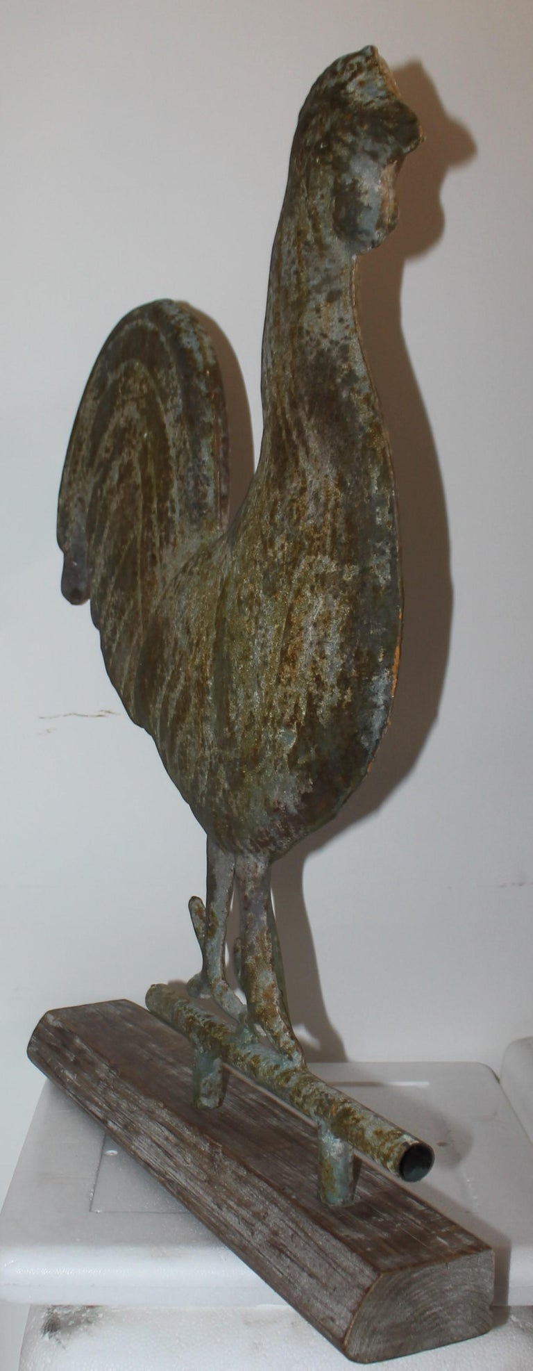 Hand-Crafted 19th C Original Surface Rooster Weather Vane from New England For Sale