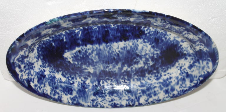 19th century oval sponge ware pottery platter. Great for serving food or fruit.