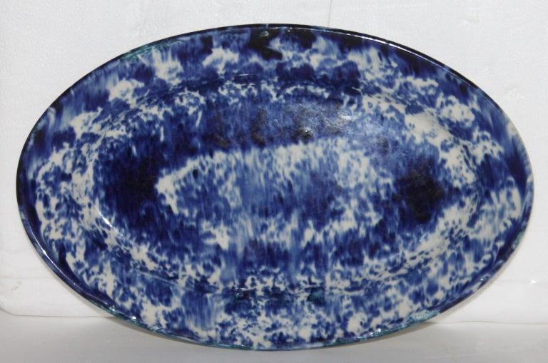 Adirondack 19th Century Oval Sponge Ware Serving Platter For Sale