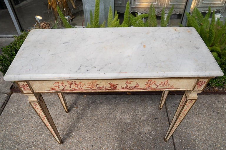 Napoleon III 19th C Painted Console with Marble Top For Sale