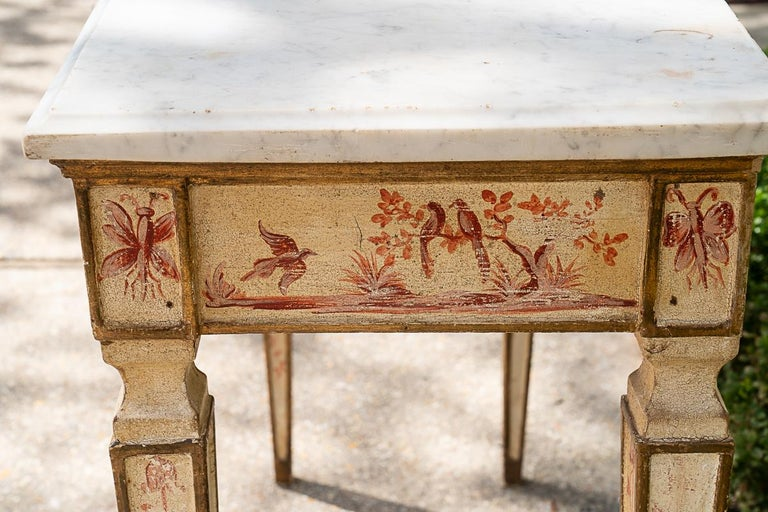 Italian 19th C Painted Console with Marble Top For Sale