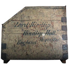 Painted Pine Estate Made Trunk, Signwritten for Lord Hindlip, Hindlip Hall
