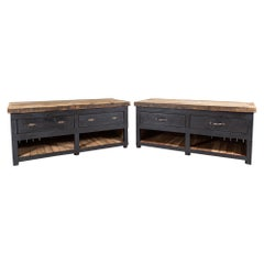 19thC Pair of English Ebonised Pine Counters / Kitchen Islands