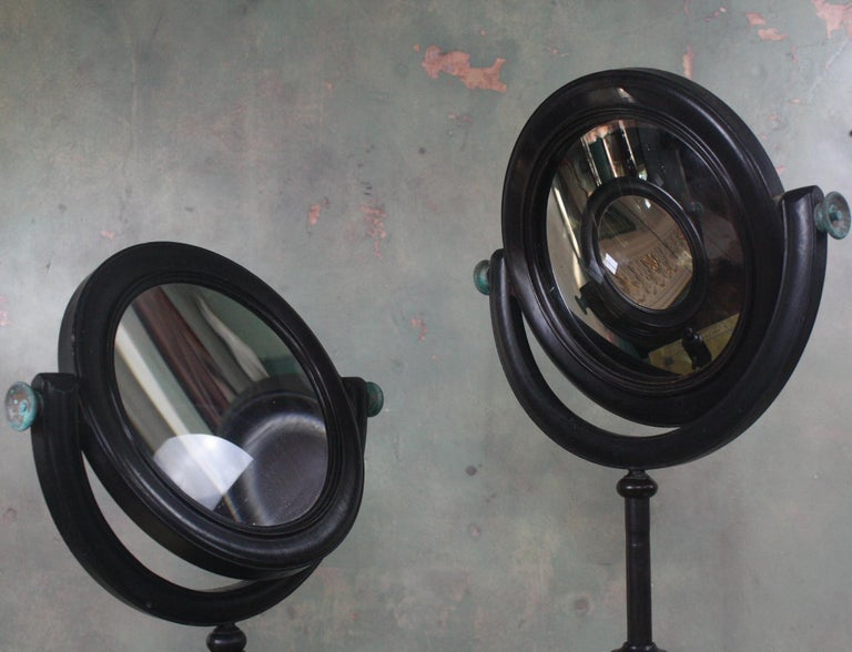 English 19th Century Pair of Optical Experimental Scientific Mirrors Concave and Convex For Sale