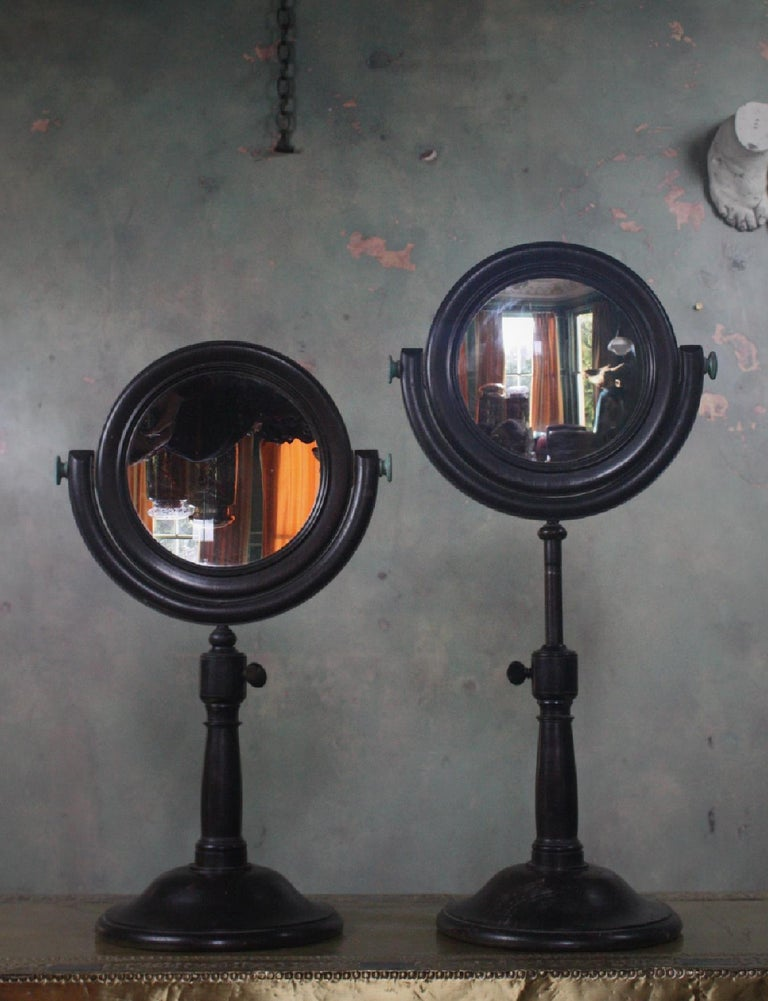 19th Century Pair of Optical Experimental Scientific Mirrors Concave and Convex For Sale 1