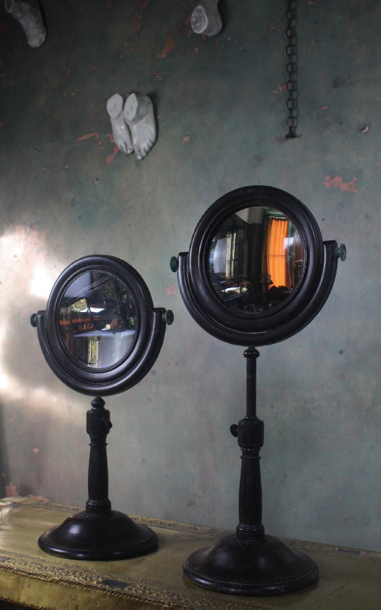 19th Century Pair of Optical Experimental Scientific Mirrors Concave and Convex For Sale 2
