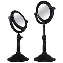 19th Century Pair of Optical Experimental Scientific Mirrors Concave and Convex