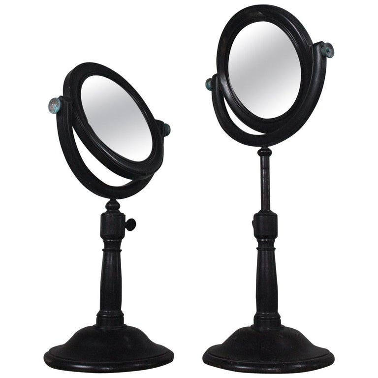 19th Century Pair of Optical Experimental Scientific Mirrors Concave and Convex For Sale