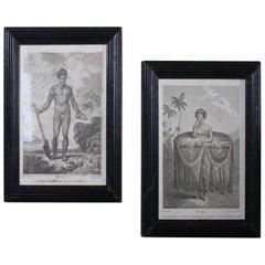 Pair of Oceania and Pacific Island Engravings in Reeded Ebonised Frames