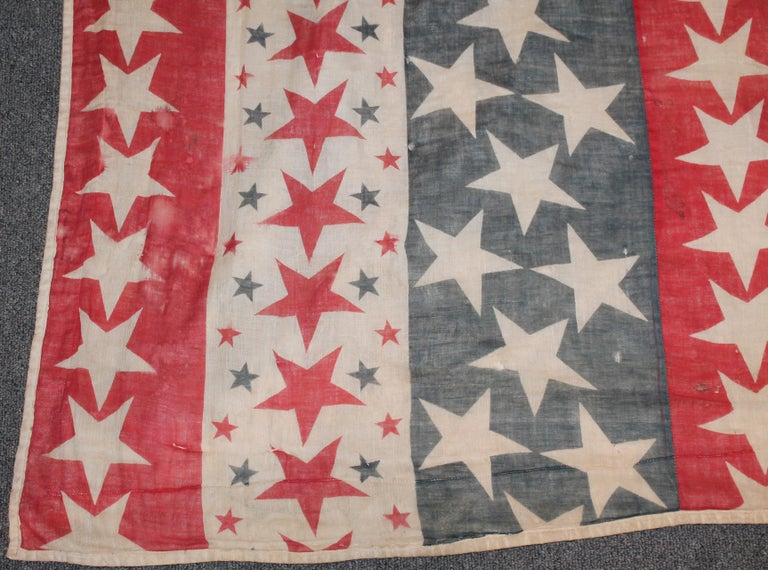 Adirondack 19th Century Patriotic Bunting Stars Tied Quilt Dated 1898 For Sale