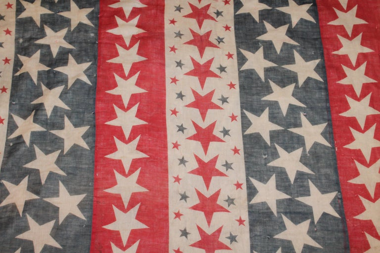 American 19th Century Patriotic Bunting Stars Tied Quilt Dated 1898 For Sale