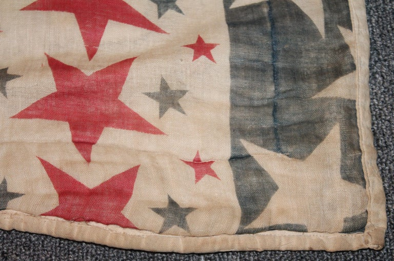 Hand-Crafted 19th Century Patriotic Bunting Stars Tied Quilt Dated 1898 For Sale