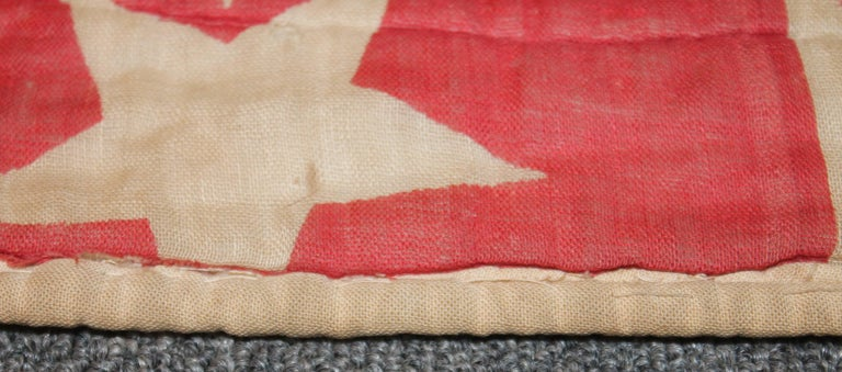 19th Century Patriotic Bunting Stars Tied Quilt Dated 1898 In Good Condition For Sale In Los Angeles, CA
